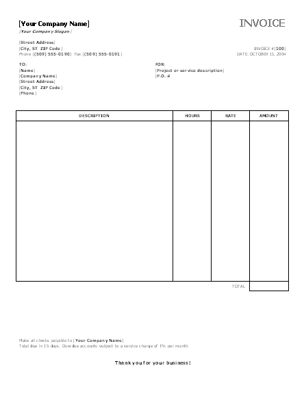Service Invoice with Hours and Rates – Printable Free Invoices
