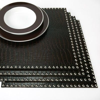 Faux Crocodile Placemats With Silver Studs Placemats White Placemats Modern Table Linens
