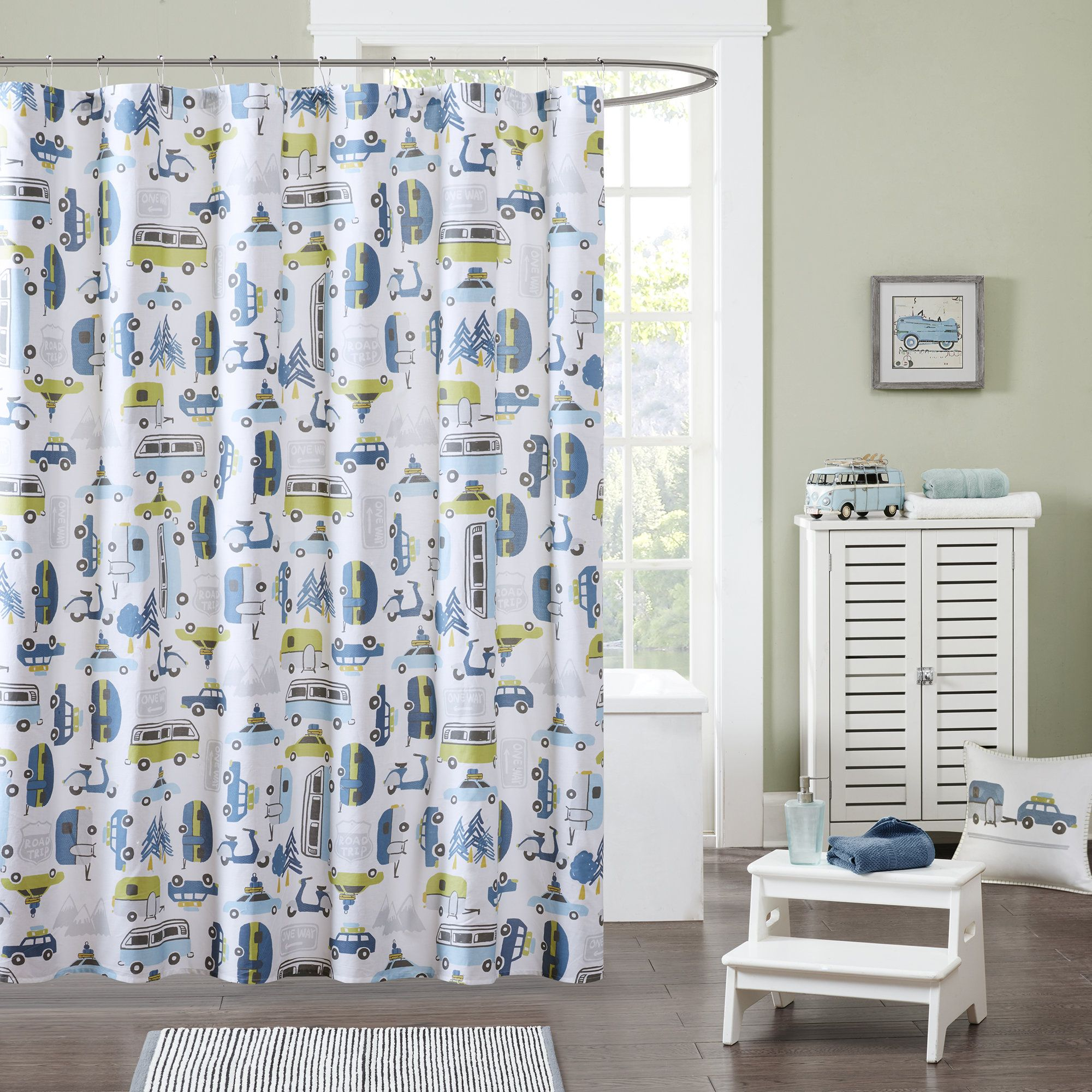 Road Trip Cotton Printed Shower Curtain