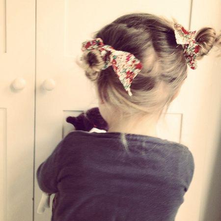 Fabric scraps as hair ribbon