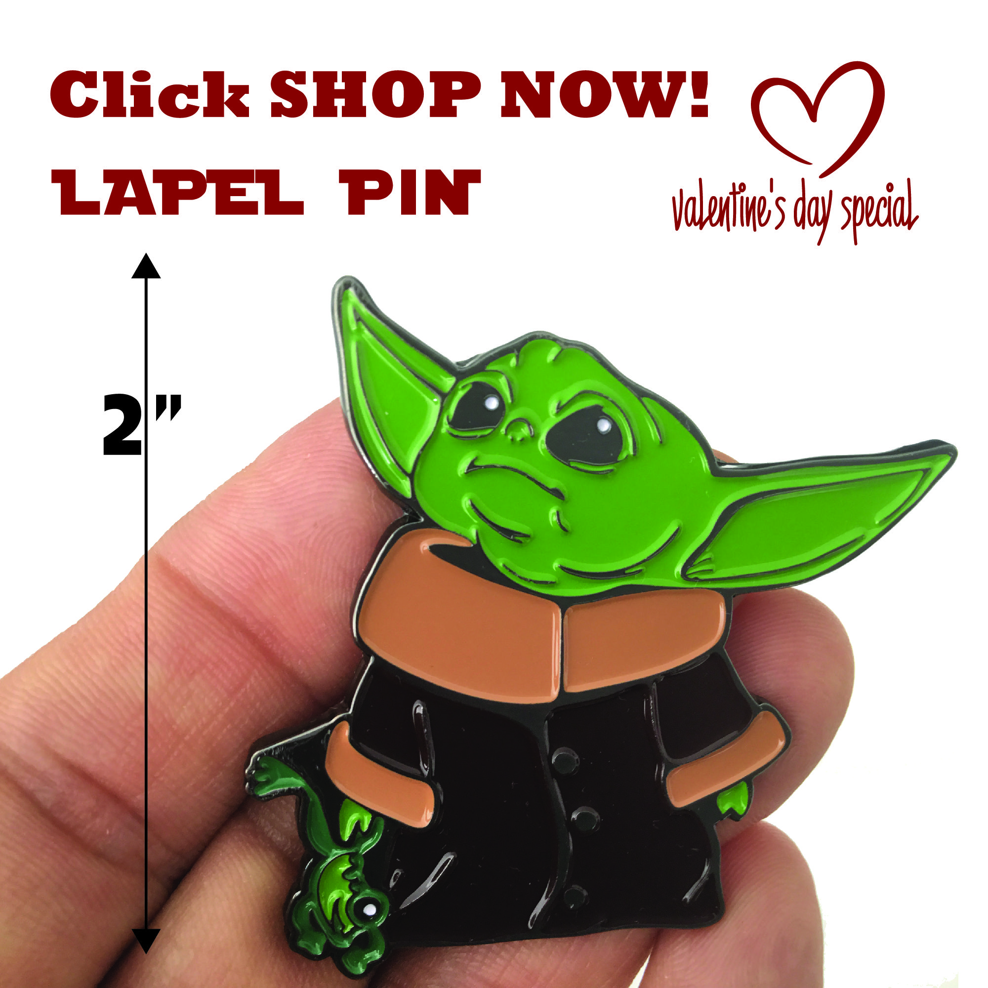 Multicolor Keychain Baby Yoda 2 inch with Frog The Child Character from The Star Wars Disney Television Series The Mandalorian with Double Butterfly Clutch