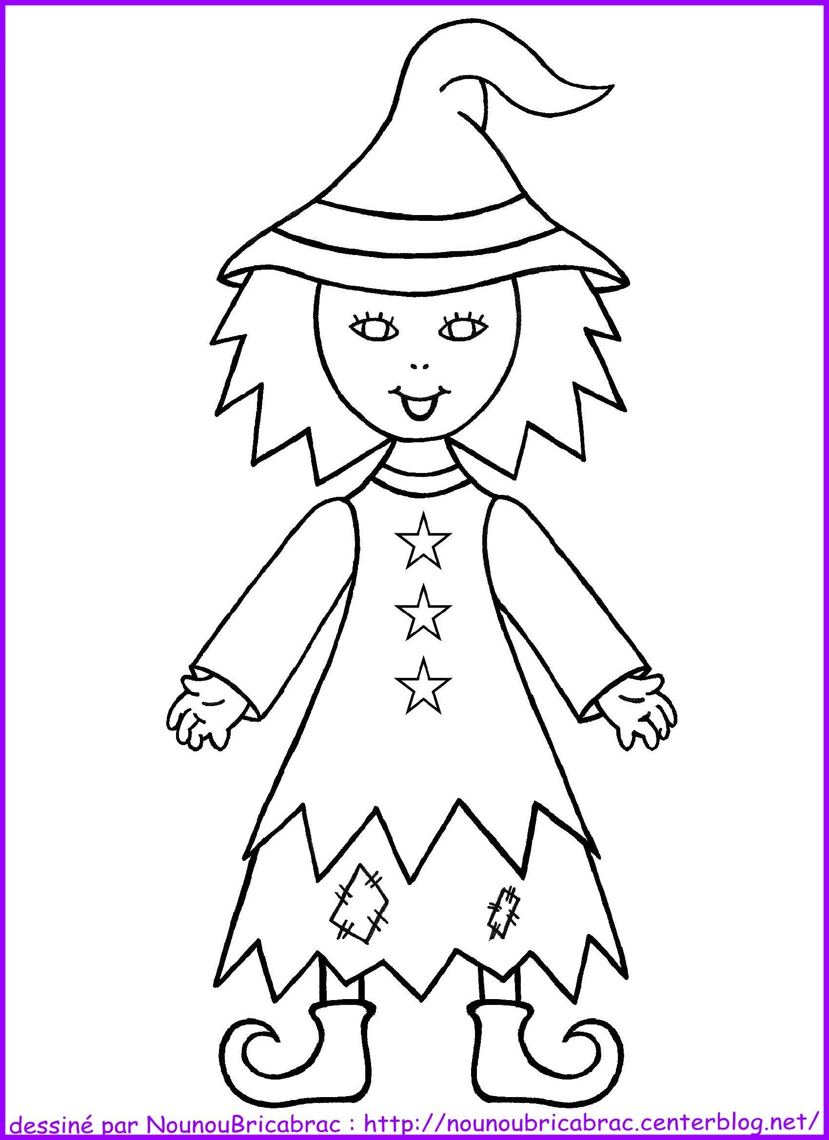 Sorcière d'Halloween *1*... à colorier (avec images
