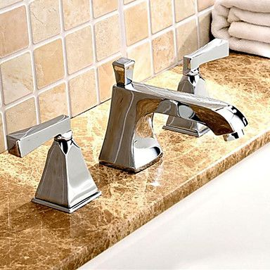 Widespread Two Handles Three Holes In Chrome Bathroom Sink Faucet