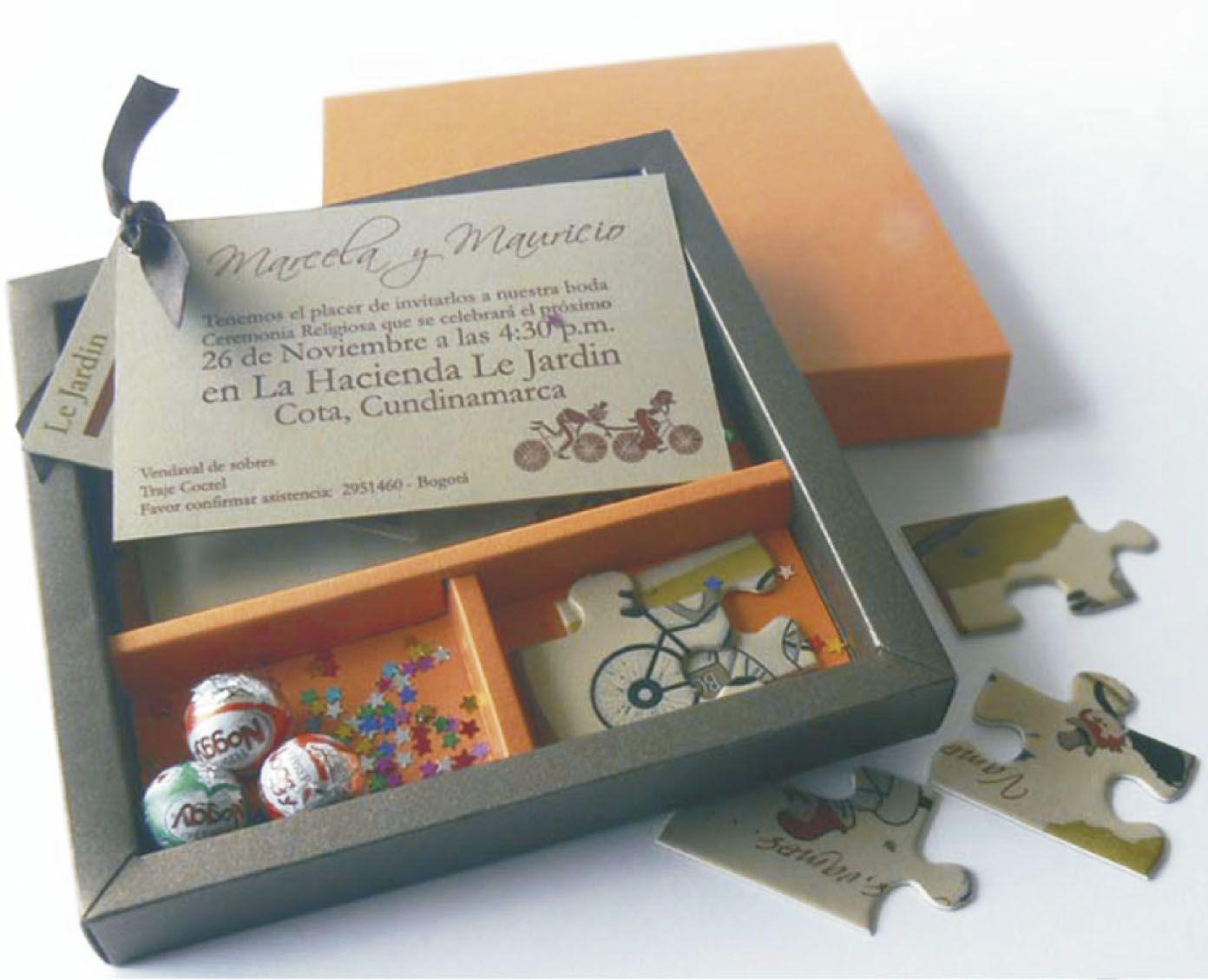 Caja Con Rompecabezas Invitación Personalizable Incluye