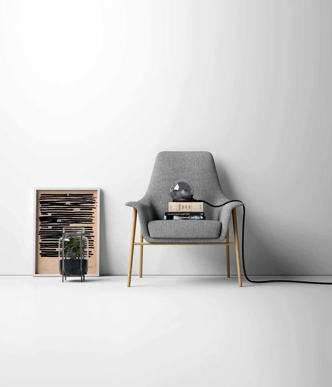 Poltrona design scandinavo tela ergonomica for Industria mobili