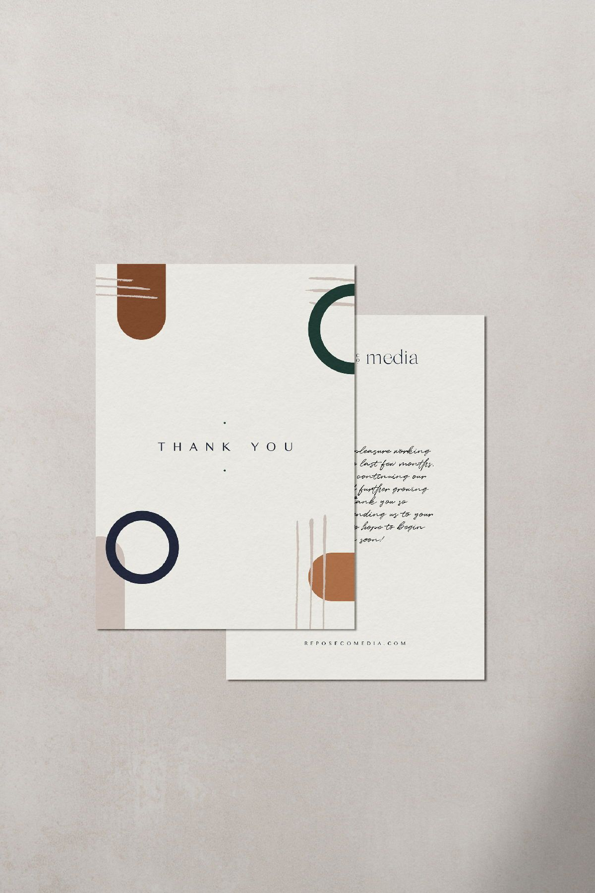 Every Brand Needs Some Print Collateral This Thank You Postcard Utilizes The Brand Pattern And Secondary Logo Postcard Design Logo Design Diy Print Collateral