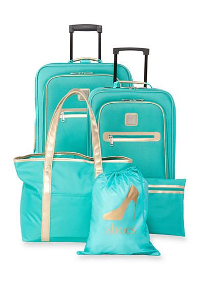 New Directions® 5-Piece Turquoise with Gold Trim Luggage Set ...