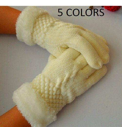 Winter Gloves Women Warm Knit Finger Gloves Fur Lining Cotton Mittens WCA062 #WinterGloves