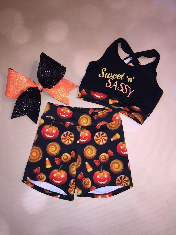 Halloween Dancewear Cheer set Sweet n Sassy Sports Bra