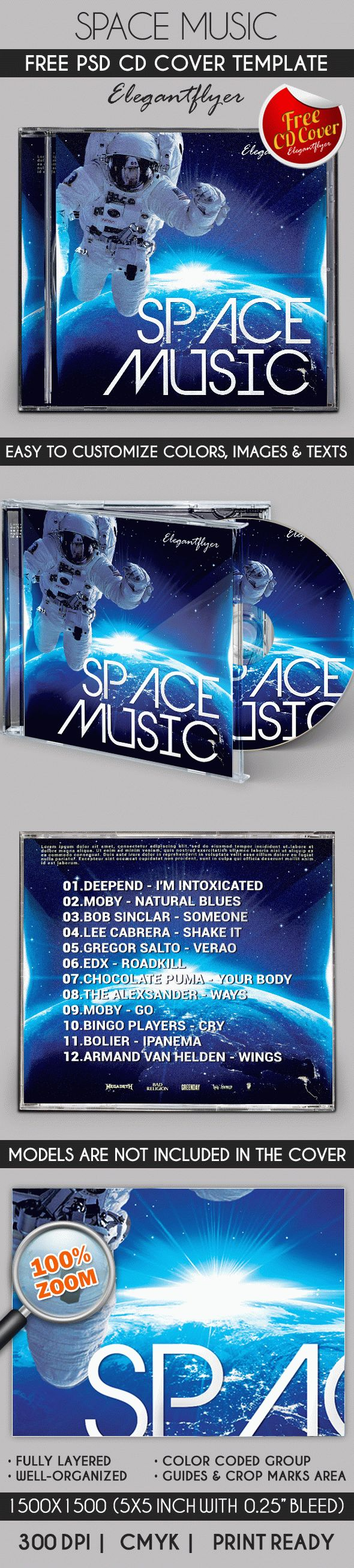 Space Music – Free CD Cover PSD Template | Free CD & DVD cover ...