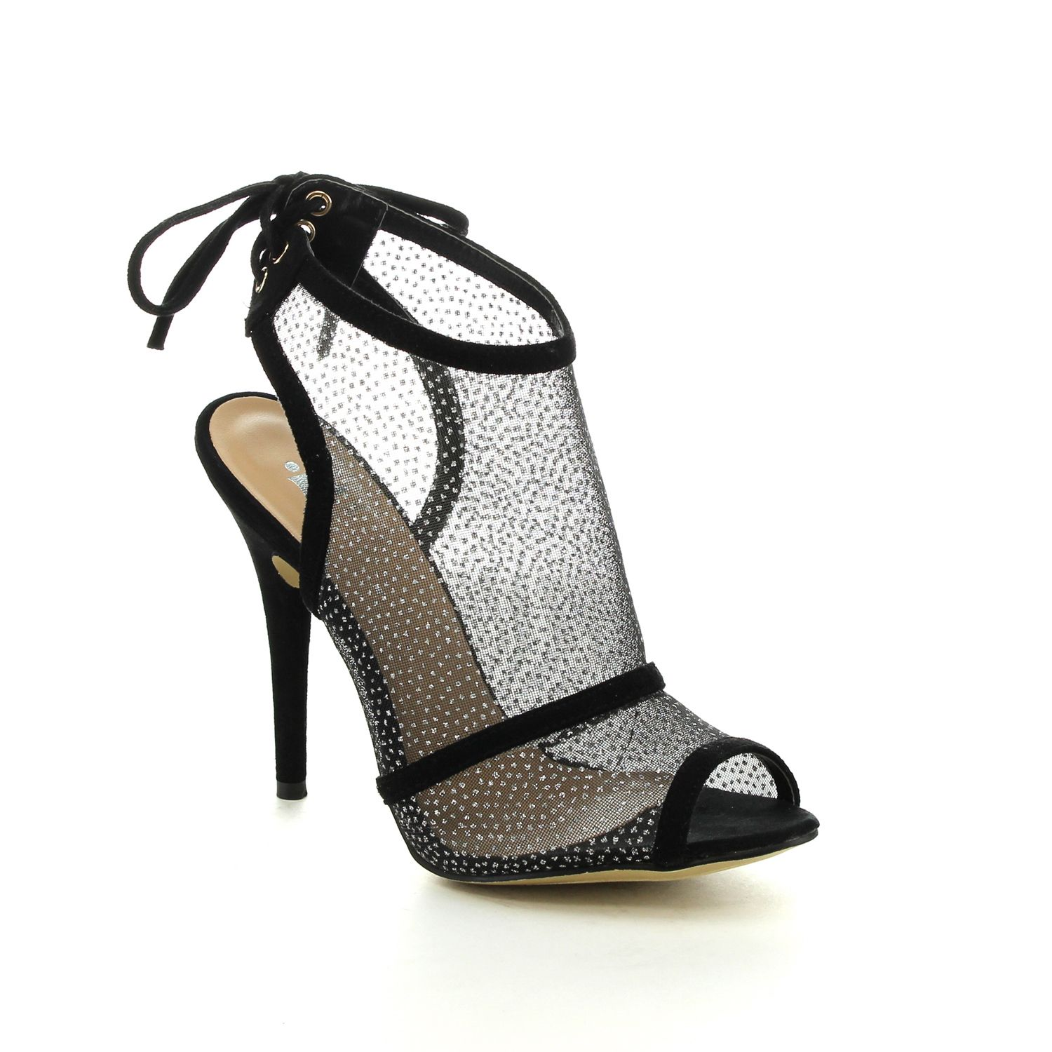 These high heel sandals featuring with see through fabric and lace loop on the back for your adjustment ,buy this considerate shoes while it's available. This shoe runs one and half size smaller than regular size.