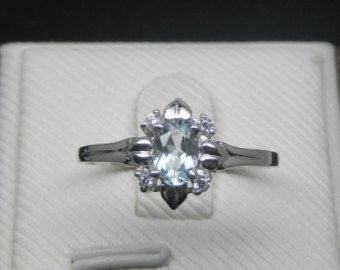Engagement Ring - Aquamarine Ring With Diamonds In 14K White Gold