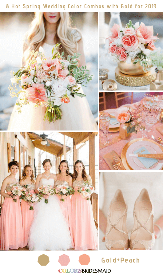 8 Hottest Spring Wedding Color Combos with Gold for 2019