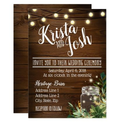 Rustic Wood And Succulent Wedding Invitation Country Styles