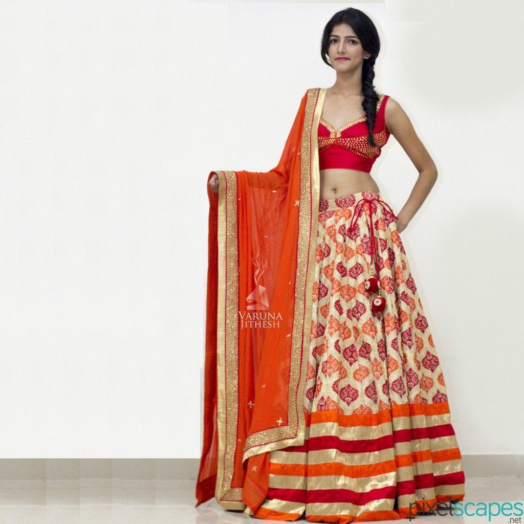 Red orange lehenga desi style pinterest bridal lehenga online