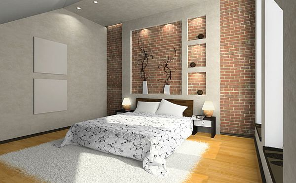 Conceptions des murs en brique pour chambre à coucher
