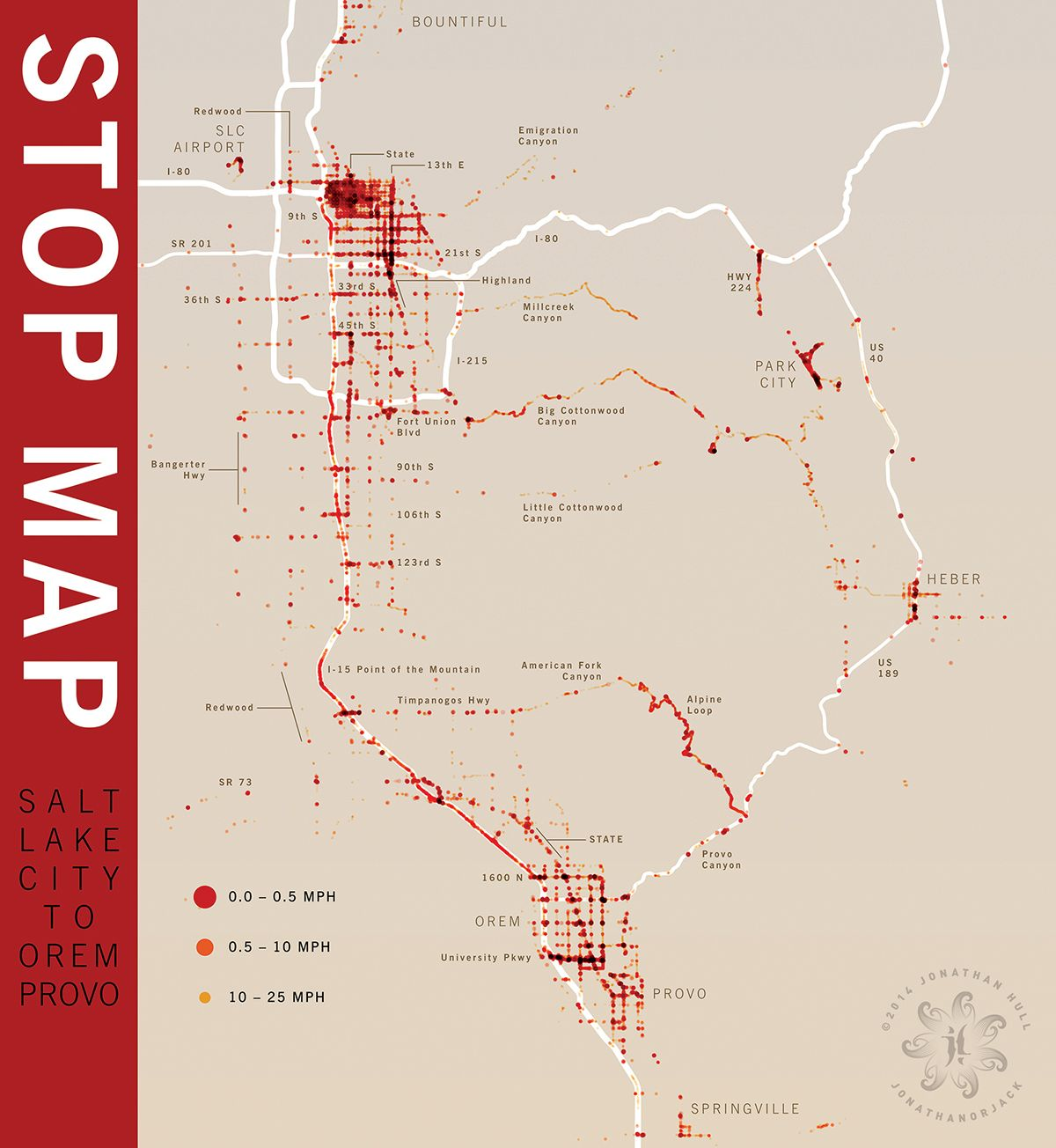 Stop Map—Traffic in Salt Lake City, Utah infographic created from