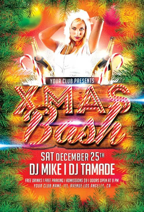 Free Xmas Bash Christmas Party PSD Flyer Template - http - download free flyer templates word