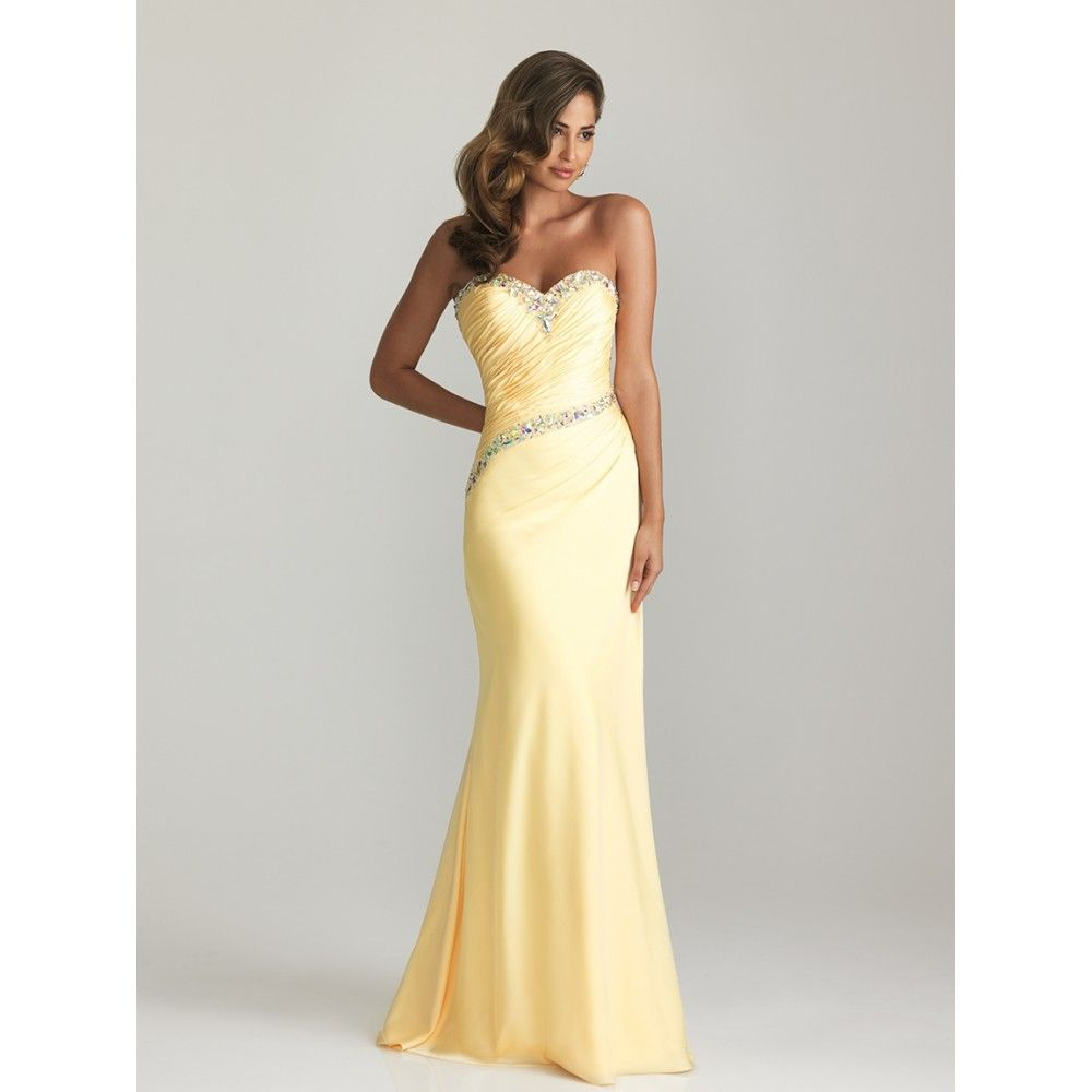 Yellow a line dress line sweetheart beaded ruched satin long