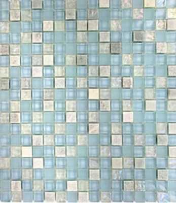 12 X 12 Fusion Summer Sky 1 2 X 1 2 Squares Polished Frosted Glass Marble Mosaic Mosaic Mosaic Glass Stone Tiles