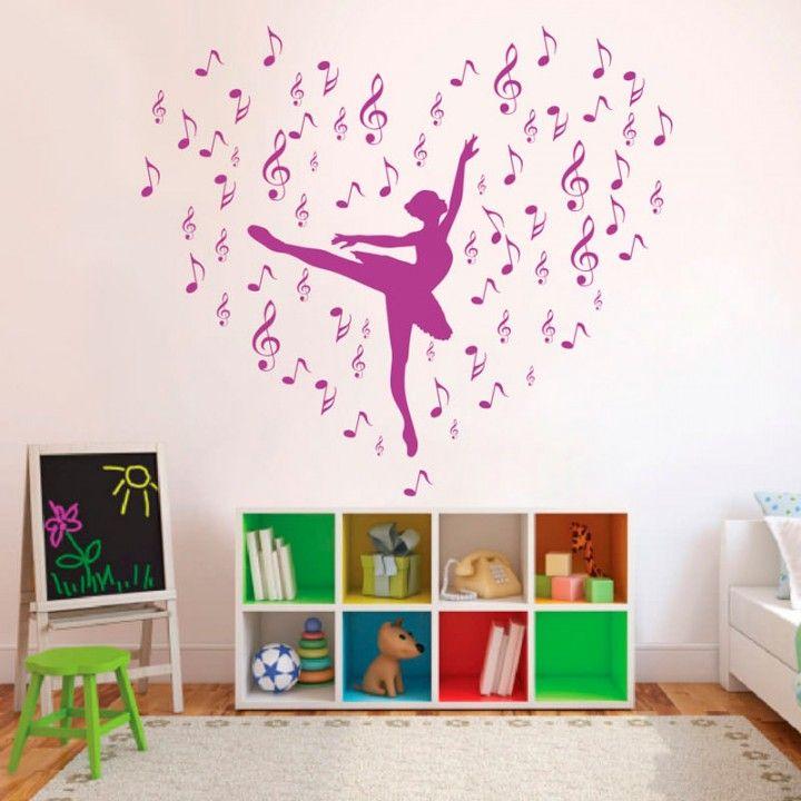 Adesivo Estrela Kalunga ~ Adesivo de Parede Bailarina com Notas Musicais Adesivos de Parede Infantil Pinterest