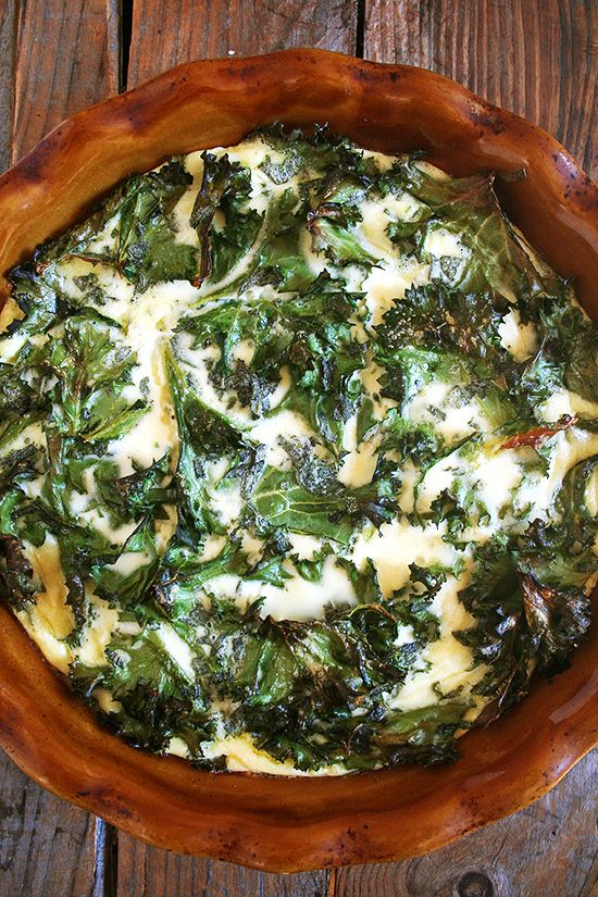 I make crustless quiche nearly once a week, always with uncooked greens, always with fresh thyme, always with crème fraîche, always effortless.