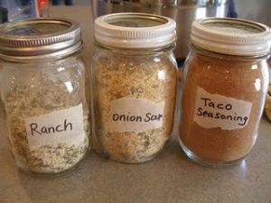 diy taco seasoning, onion soup mix, and ranch mix!