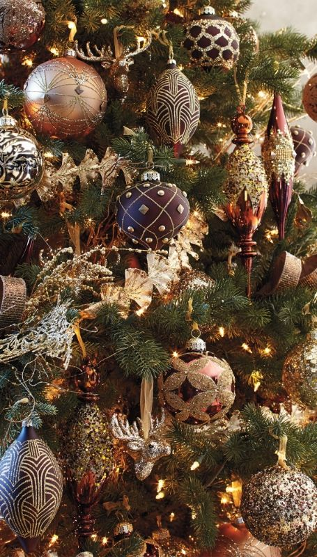Mixed Metals 60 Pc Ornament Collection Frontgate Copper Christmas Gold Christmas Decorations Christmas Tree Decorations