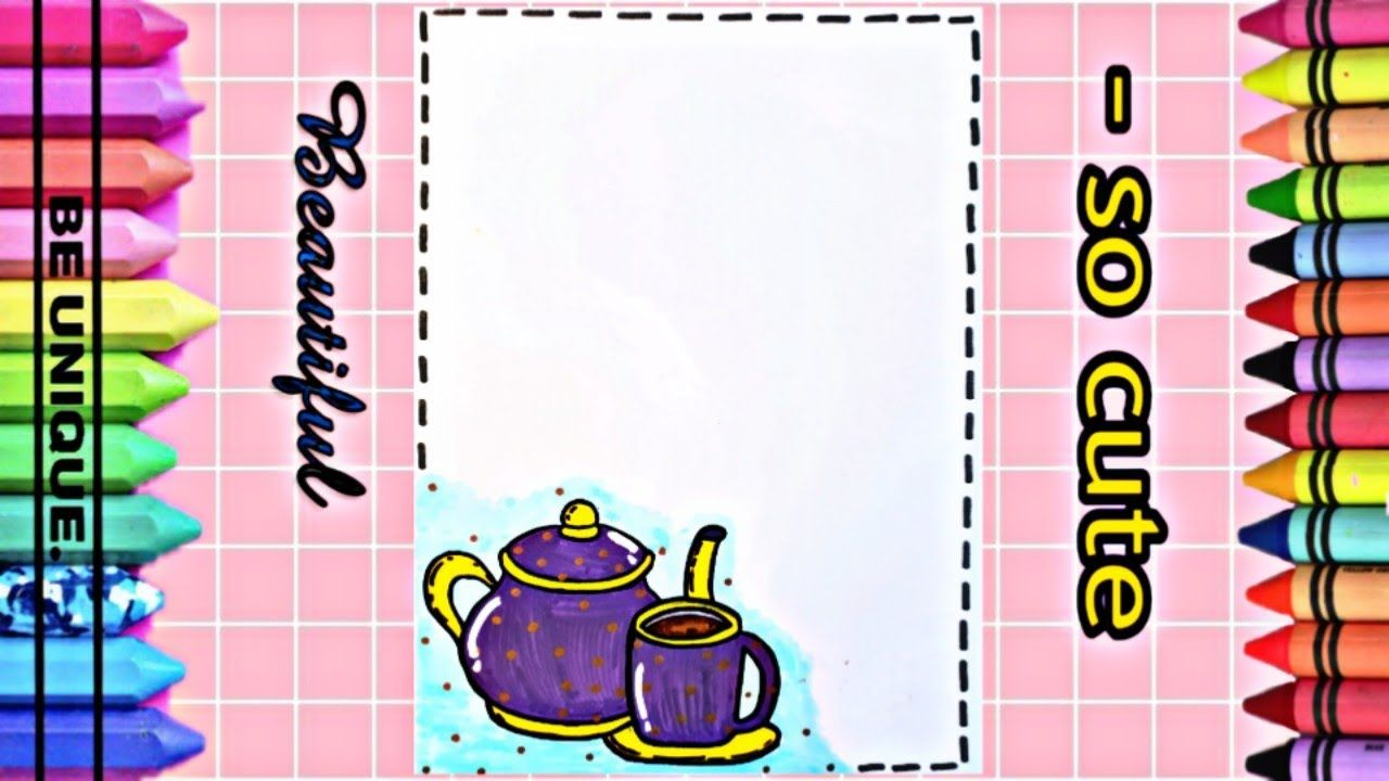 Drawing To Decorate Notebook Teapot تعليم الرسم تزيين دفاتر مدرسي Cute