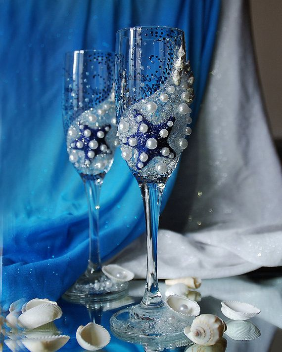 Beautiful pair Beach Wedding champagne glasses with White Starfish, decorated with handmade original design using pearls , crystal beads and