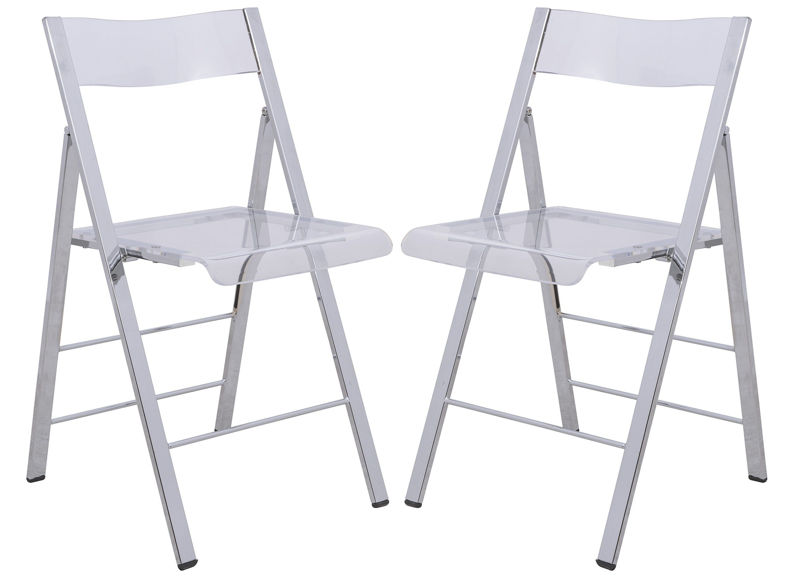 clear acrylic furniture. LeisureMod Menno Modern Acrylic Folding Chairs, Set Of 2 (Clear) Clear Furniture 7