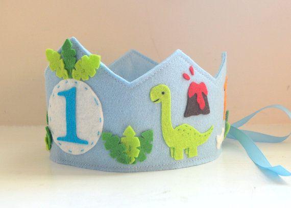 Dinosaur Crown Wool Felt Birthday Crown Boy by pixieandpenelope