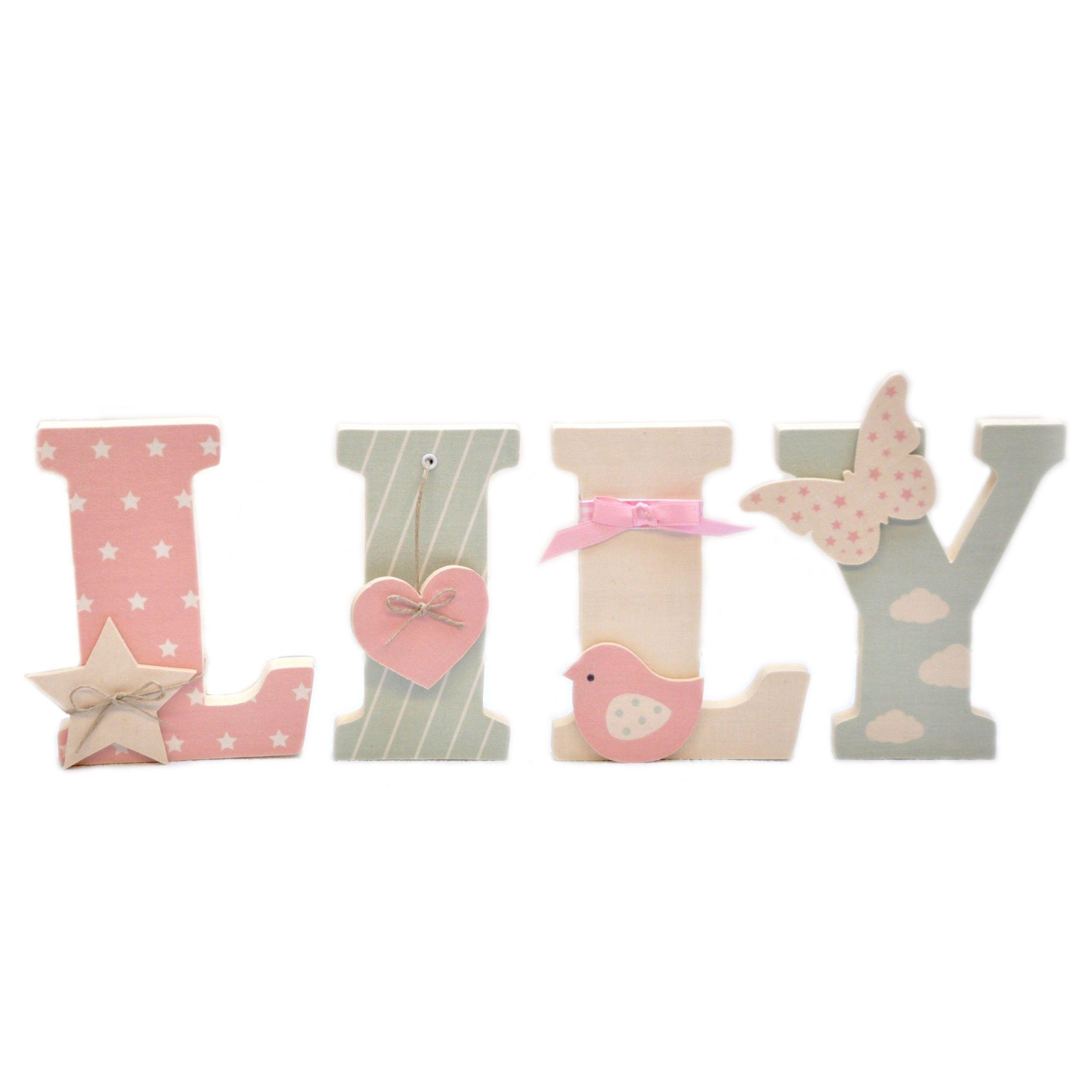 Lettre en bois et tissu pour chambre de fille et b b pr nom lily ideecreation chambre b b - Lily rose prenom ...