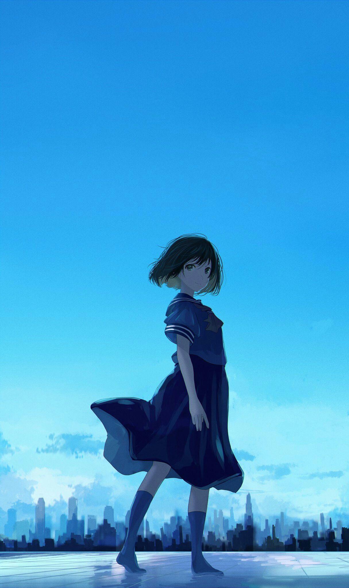 Girls Sky Wallpapers Animegirl Animekawaii Kawaii Sky