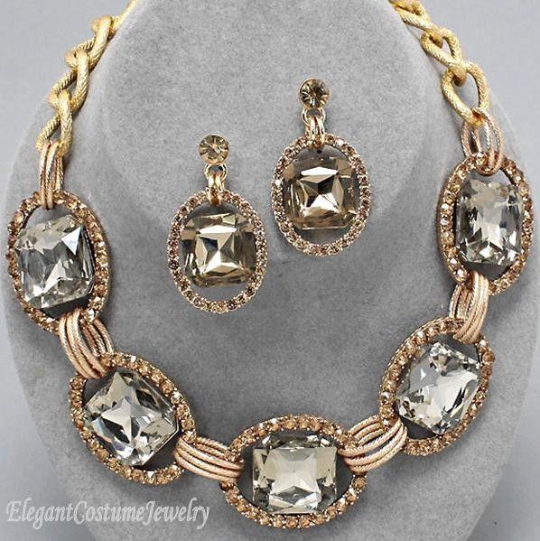 Champagne Gold Chunky Crystal Statement Necklace Set Elegant