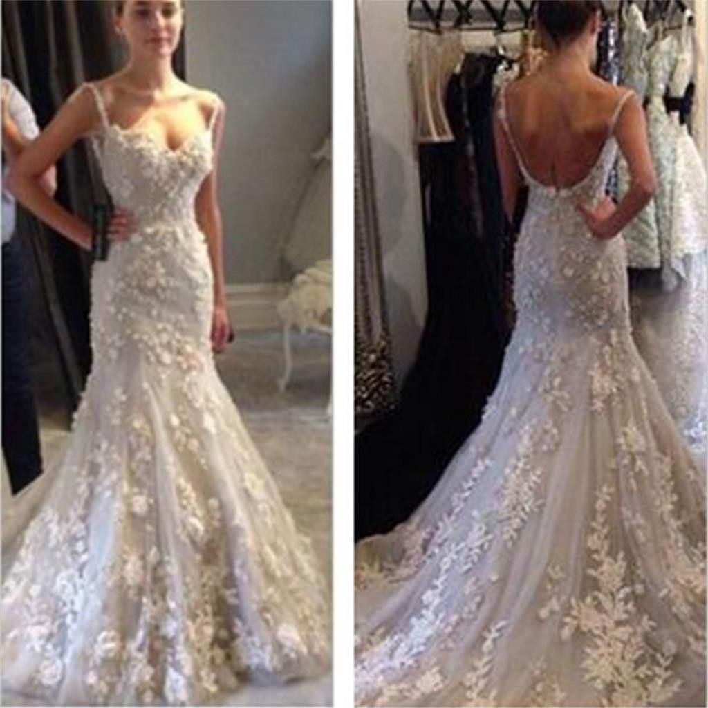 Elegant spaghetti strap lace appliques mermaid sexy backless prom