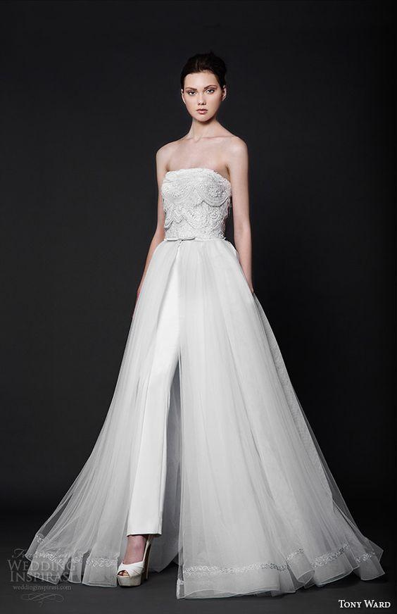 vestidos de novia con pantalones ¡15 modelos grandiosos! | boda