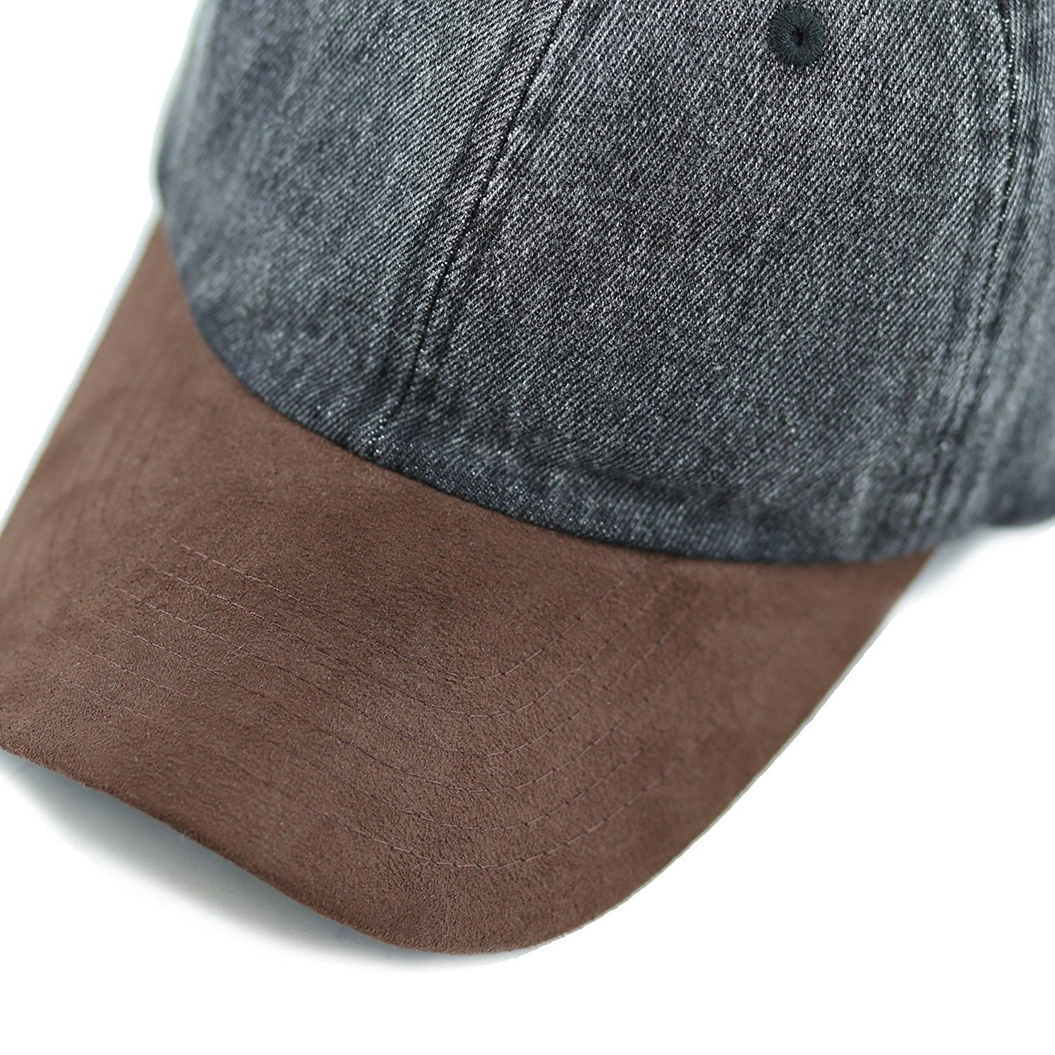 BLANK BALL CAPS HATS TAN BLUE SUEDE LOW PROFILE
