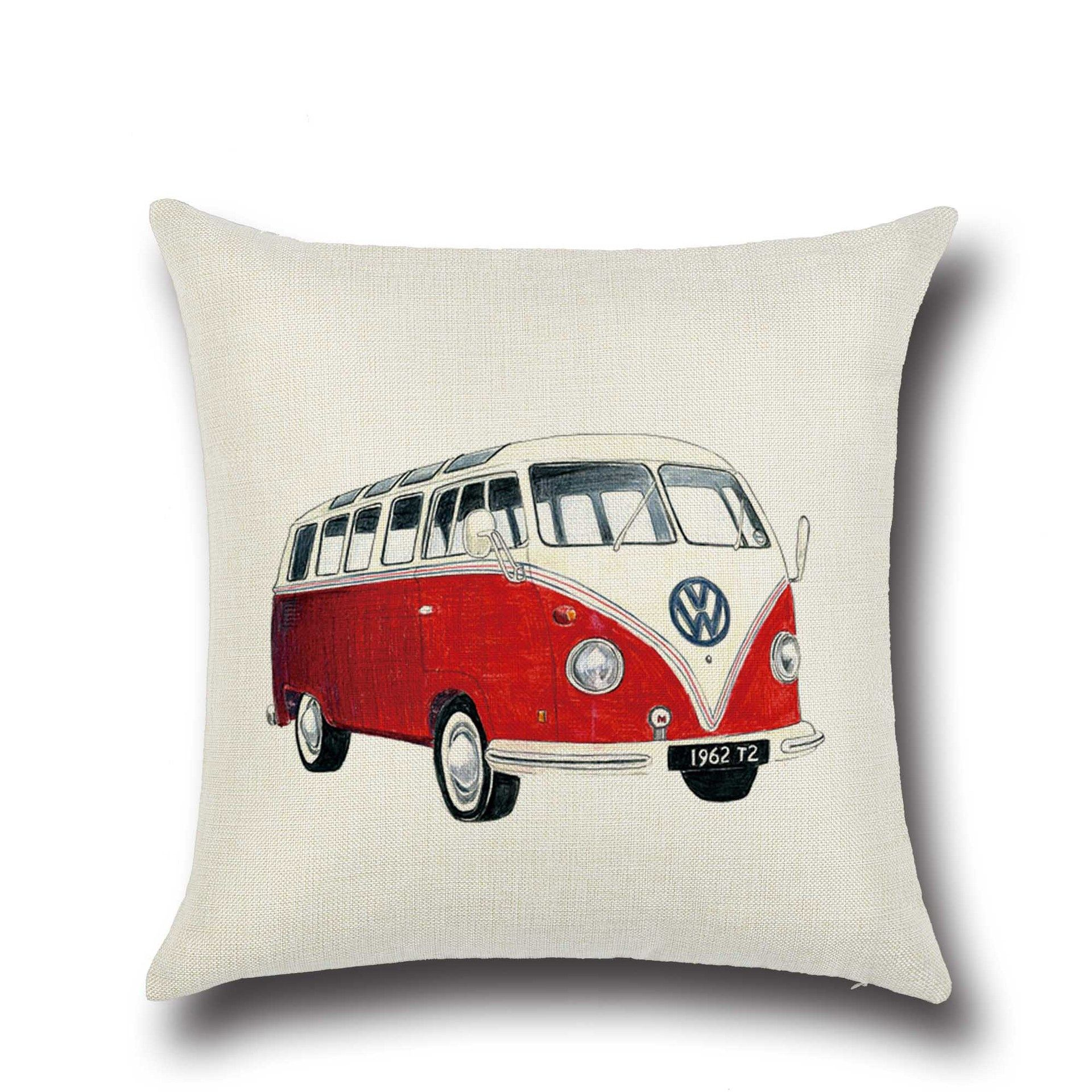 Creative Cartoon Bus Pillow Covers for Car Couch Sofa Chair