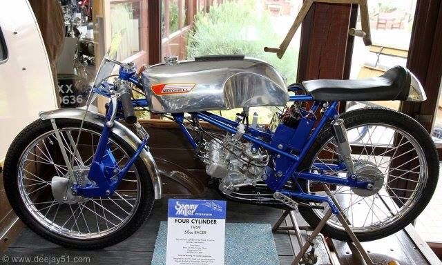 Mitchell 50cc 4 cylinder Racing Bike in Sammy Miller's Museum. The motorcycle was designed by Eric Fity-Hugh and manufactured by Duncan Mitchell of Stevenage, UK. The motorcycle was never raced due to financial problems.
