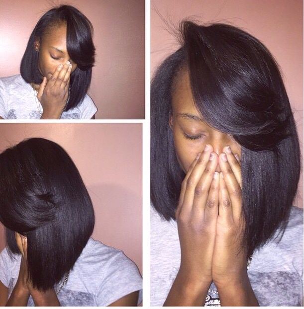 Wedding Kondai Hairstyle: #FeatheredBangs #InvisiblePart #Bob #Weave