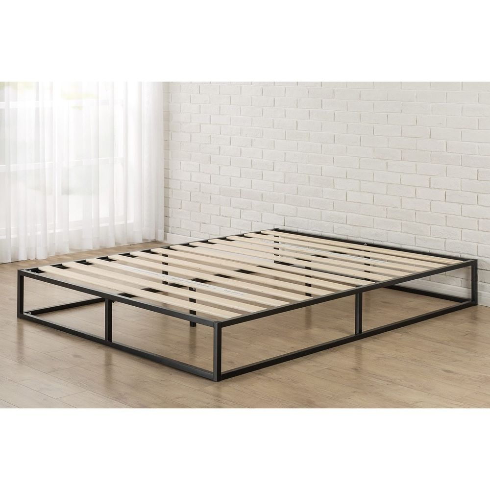 Queen Size Platform Bed Frame Foundation With Wooden Slats Black