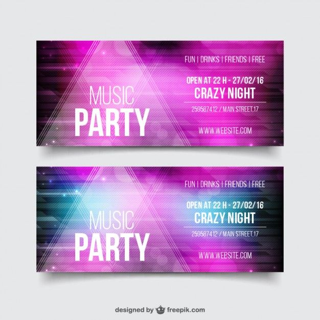 pink realistic party flyer template pack free vector insp