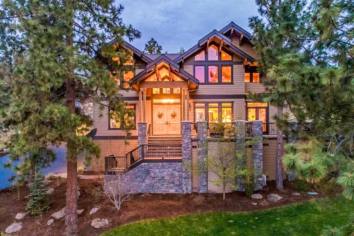 Plan 85264ms Lodge Style House Plan With Attached Guest House In 2021 Lodge Style House Plans Home Design Floor Plans Mountain Home Exterior