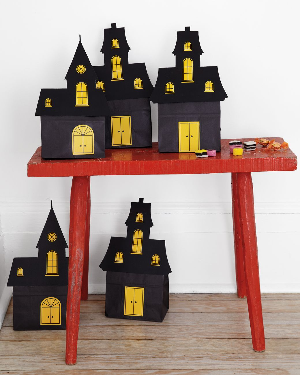 Homemade halloween indoor decorations - Goody Bags Can Do Double Duty As Party Decor When You Update Black Bags With Our