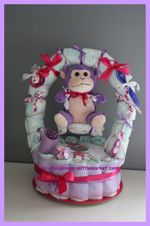 cadeau b b naissance bapt me g teau de couches fille d coration pour enfants par les chou. Black Bedroom Furniture Sets. Home Design Ideas