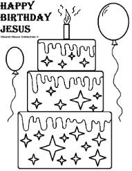 Happy Birthday Jesus Cake Coloring Pages Childrens Church