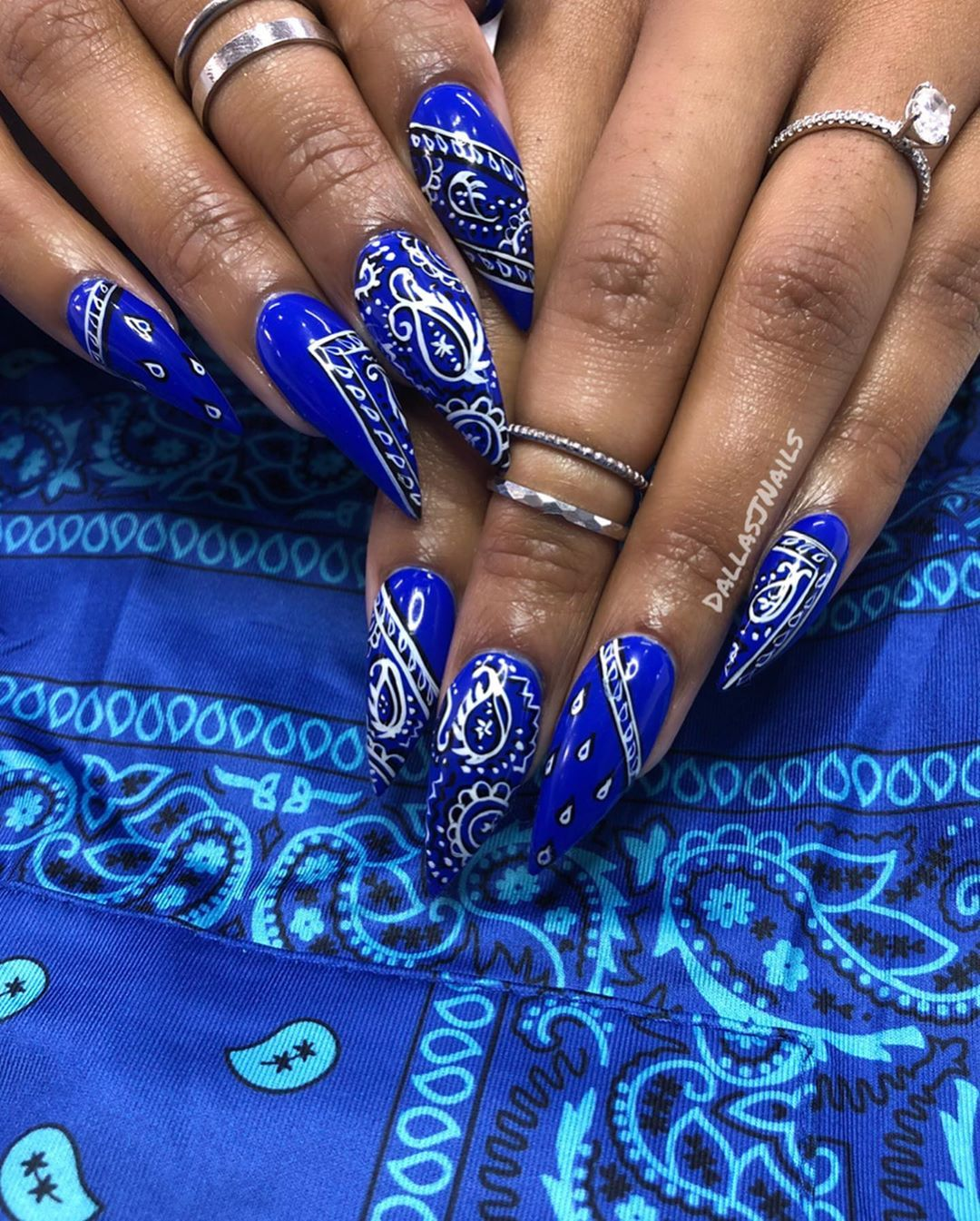 Dallasjnails On Instagram Crip Iana Shop Popspicemiami For All The Flyest Fits In Miami Swipe Bandana Nails Coffin Nails Designs Ghetto Nails