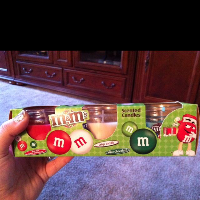 This M&M lover is in a candy scented heaven! M&M'S scented candles! Red Hit Cinnamon, Crisp Vanilla, and Mint Chocolate. Found these at General Dollar for $3.00.