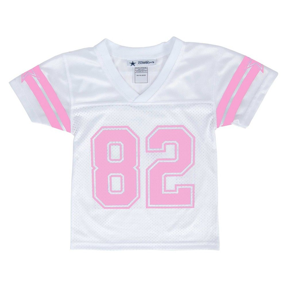 Dallas Cowboys Girls Jason Witten Pink Glitter Print Jersey White